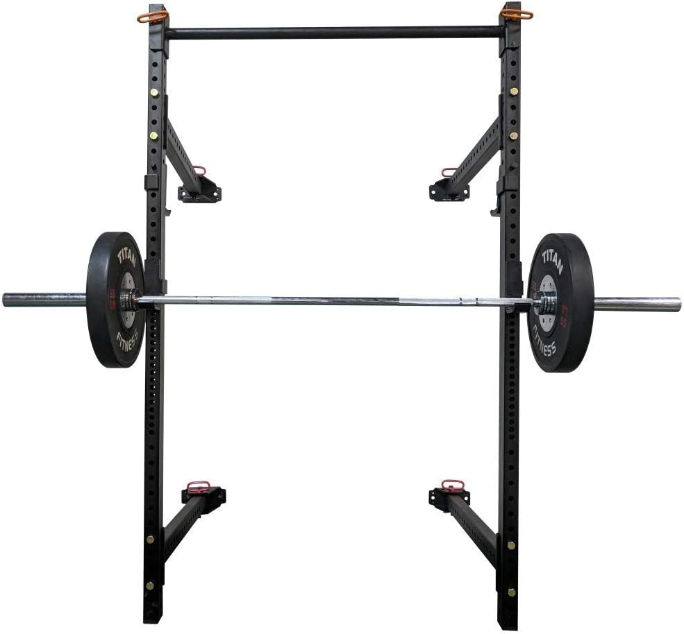 Titan Fitness T-3 Series Fold Back Power Rack 41 Deep Wall Mounted Laser Cut