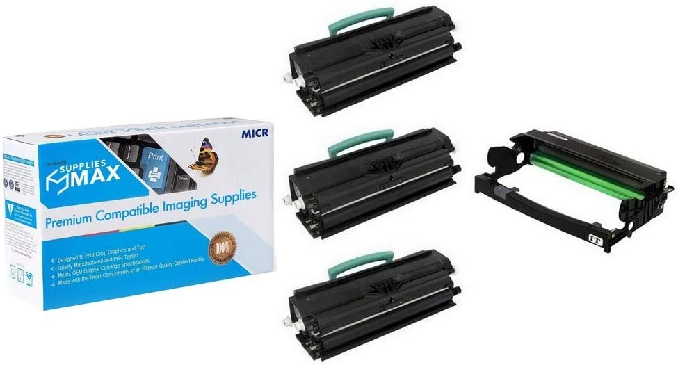 SuppliesMAX Compatible MICR Replacement for Dell 1720/1720DN Drum/High Yield Toner Value Combo Pack (1-Drum Unit/3-Toners) (TJ987_1PK/RP380_3PKVB)
