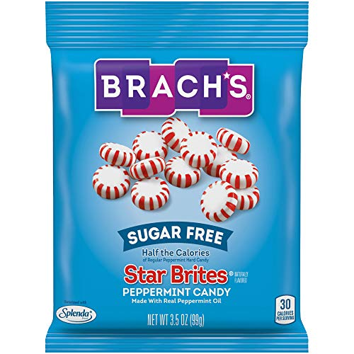 Brachs Sugar Free Star Brites Peppermints Hard Candy, 3.5 Ounce Peg Bag (Pack of 12) Individually Wrapped