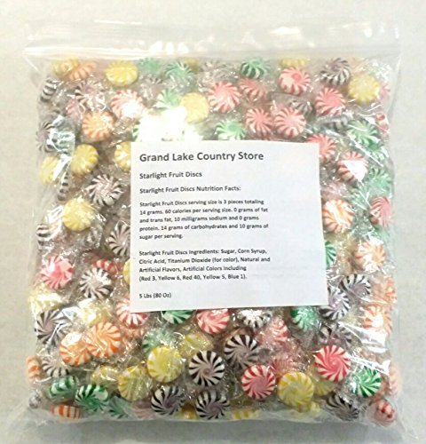 - Starlight Fruit Discs 5 Lbs Bulk Hard Candy Approx. 450 Pieces