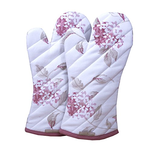 CASA DECORS Oven Mitts, Unique Blooming Florals Design, Oven Mitts Heat Resistant, Made of 100% Cotton,Eco-Friendly & Safe, Set of 2,Oven Mitt Size 7 x 13 Inches,Machine Washable,Kitchen Oven - Floral Mitt Oven