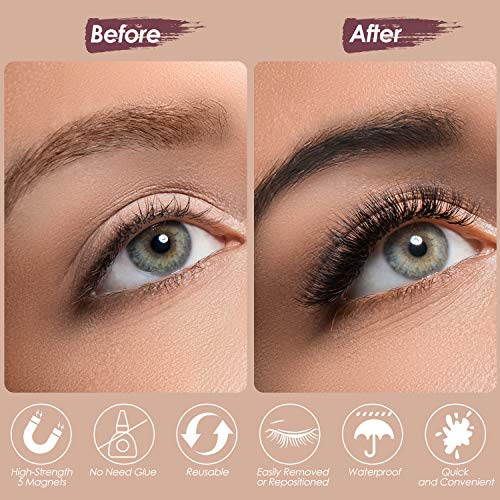Magnetic Eyelashes with Eyeliner, RXFSP Upgraded Magnetic Eyeliner and Lash Kit with 6 Pairs Reusable Magnet Eyelashes…