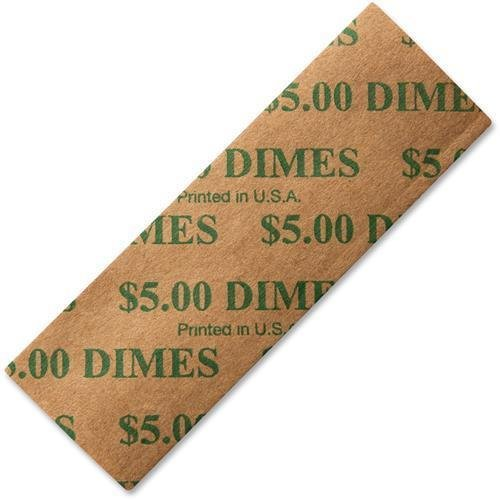 53010 PM SecurIT $5 Dimes Coin Wrapper - 1000 Wrap(s) - Sturdy - Kraft - Green (Dimes Coin Wrapper 1000 Wrap)