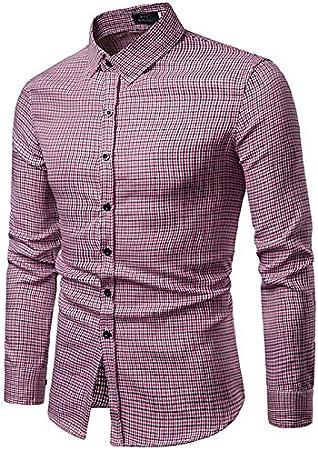 IYFBXl Camisa Delgada básica para Hombre - Color sólido ...