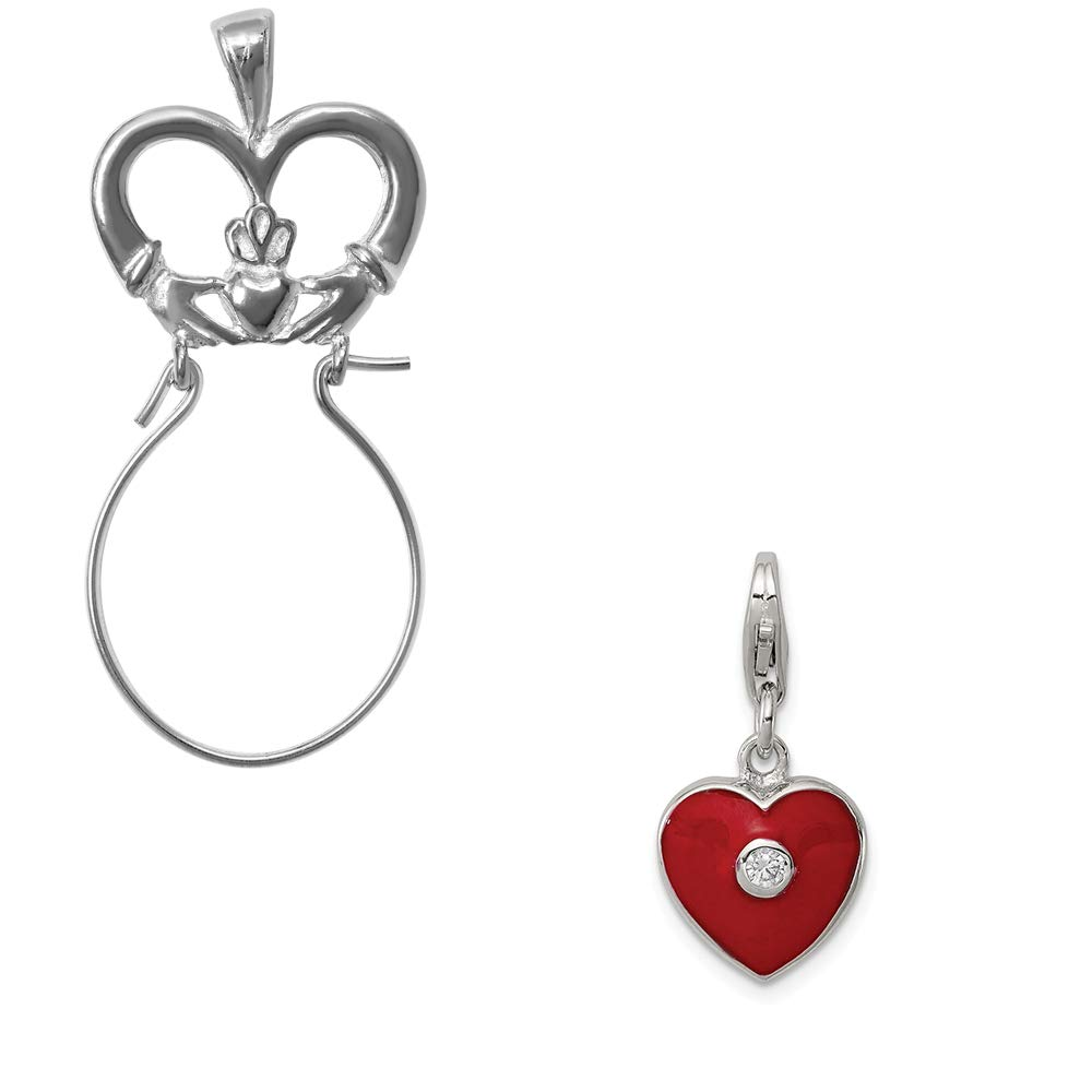 Mireval Sterling Silver Red Enameled CZ Heart Charm on an Optional Charm Holder