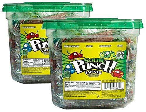 Sour Punch Twists, Assorted Flavors, 2.78lb Jar (2 Pack), 3