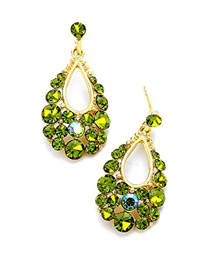 - Women's Genuine Austrian Crystal Bubble Teardrop Dangle Pierced Earrings, Olive/Gold-Tone