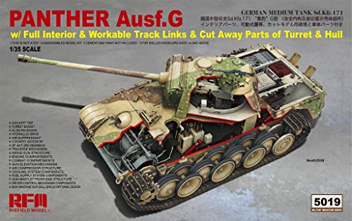 (RFMRM5019 1:35 Rye Field Model Panther Ausf.G Sd.Kfz.171 with Full Interior/Workable Track Links/Cut Away Parts of Turret & Hull [Model Building KIT])