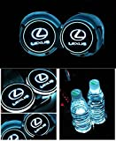 Bearfire Car Logo LED Cup Pad led cup coaster USB Charging Mat Luminescent Cup Pad LED Mat Interior Atmosphere Lamp Decoration Light (Lexus)