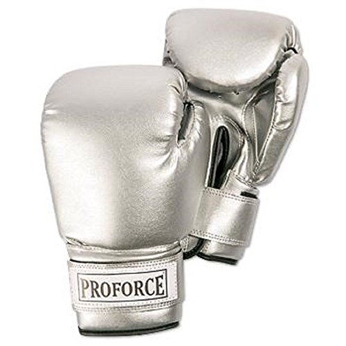 PROFORCE Leatherette Boxing Gloves with White Palm (Silver/Silver, 12 oz.)