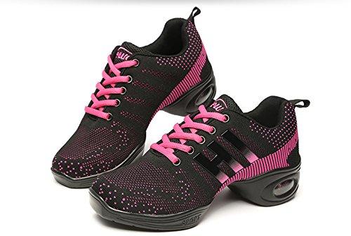 VECJUNIA Damen Athletische Turnschuhe Bequeme Modernen Weich Sohle Leichte Mesh Sneakers Sommer Breathable Jazz Dance Schuhe Schwarz