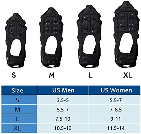 SILANON Crampons Ice Cleats for Shoes and Boots,Snow Traction Cleats for Women Men Kids Anti Slip 24 Spikes Shoes Walk Traction Cleats on Snow and Ice
