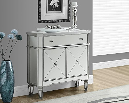 Accent Table - 32''l Mirror Chest Brushed Silver by Monarch Specialties