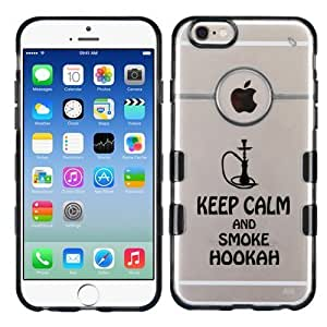 For iPhone 6 Plus (5.5) Keep Calm And Smoke Hookah Clear/Transparent Gummy Cover. (Transparent/Black)