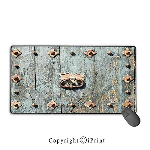 Extended Mousepad with Durable Stitched Edges,Rustic,European Cathedral with Rusty Old Door Knocker Gothic Medieval Times Spanish Style Decorative,Turquoise, Suitable for offices and homes,15.8