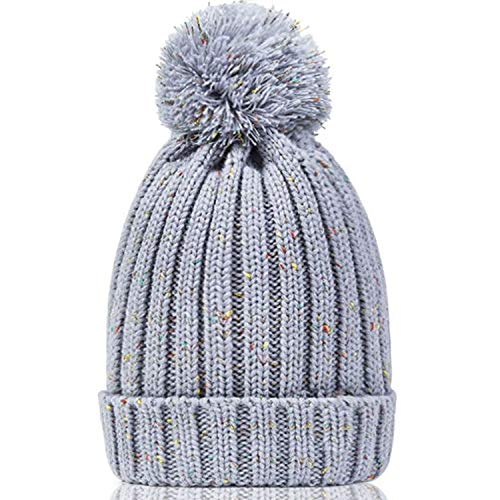 (Women's Winter Beanie Warm Fleece Lining - Thick Slouchy Cable Knit Skull Hat Ski Cap(Mix-Grey) )