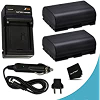 2 Canon LP-E6 Batteries Replacement with AC/DC Quick Charger Kit for Canon CX10, EOS 7D Mark II EOS 7D, 6D, 70D, 60D, 60Da, 5D, EOS 5D Mark II, EOS 5D Mark III, DSLR Cameras