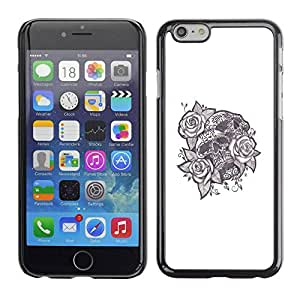 rígido protector delgado Shell Prima Delgada Casa Carcasa Funda Case Bandera Cover Armor para Apple Iphone 6 /Tattoo Ink Skull Black White Rose Love/ STRONG