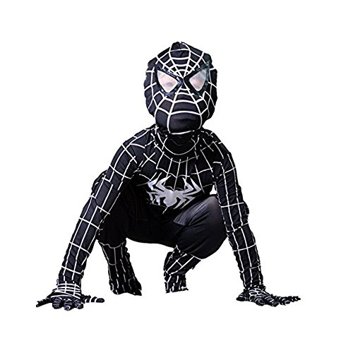 Besties Shop Superhero Costumes Spiderman Suit Boys Cosplay Halloween Costume (Black Spiderman Halloween Costume)