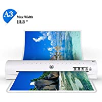 13 Thermal Laminator A3 A4 A6 Laminator Machine with 2 Roller System and Jam-Release Switch, Fast Warm-up, Quick Laminating Speed (White A3 Laminator)