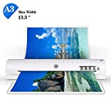 13'' Thermal Laminator A3 A4 A6 Laminator Machine with 2 Roller System and Jam-Release Switch, Fast Warm-up, Quick Laminating Speed (White A3 Laminator)