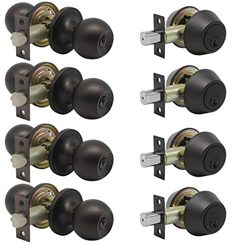 4 Sets-Entry Door Knob Lockset and Single Cylinder Deadbolt Combination Set, Keyed Alike Front Handlesets in Oil Rubbed Bronze, Combo Pack Door Knobs Exterior,Contractor Pack