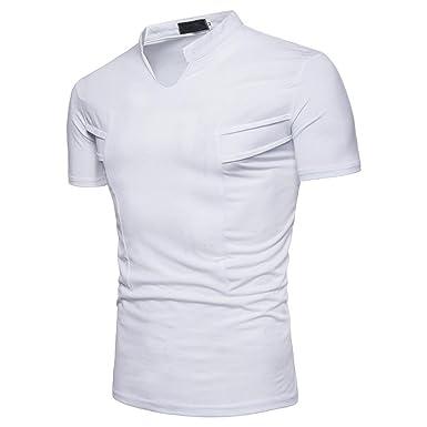 6001a57f46022 OHQ T-Shirt Col V pour Hommes Noir Jaune Blanc Mode Blouse Manches Humour  Couple