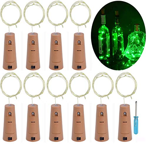 LRCXL Set of 10 Wine Bottle Cork Lights - 18inch/ 47cm 10 LED Silver Wire Lights String Starry LED Lights for Bottle DIY, Halloween Party, Christmas, Wedding Decoration (Green)