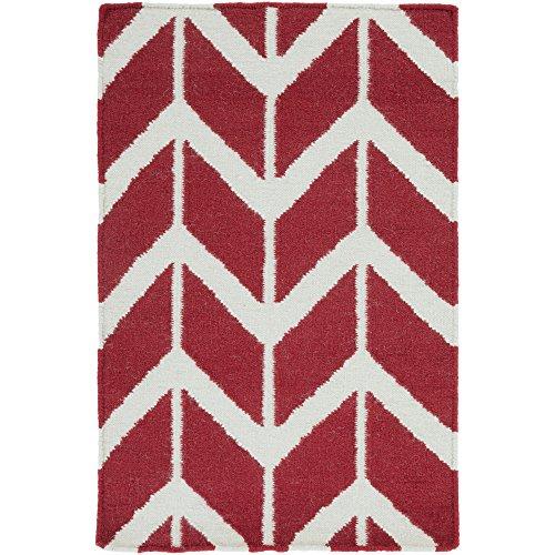 Surya Jill Rosenwald Fallon FAL-1053 Flatweave Hand Woven 100% Wool Red 8' Round Geometric Area Rug