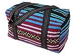Peyote Style Carry On Shoulder Tote Duffel Bag . Beautiful Hand-Woven Acrylic Mexican Serape Design in Vivid Colors (Peyote Purple B)