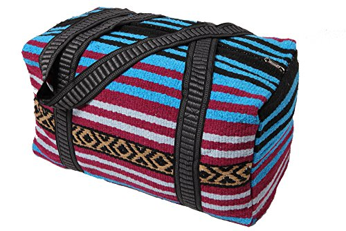 Peyote Style Carry On Shoulder Tote Duffel Bag Beautiful Hand-Woven Acrylic Mexican Serape Design in Vivid Colors (Peyote Purple -