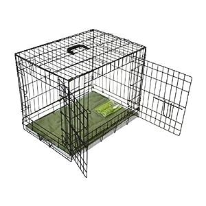 BUNNY BUSINESS Jaula de Metal para Perro, 2 Puertas, cojín y Rodillos de Pelusa incluidos, Color Negro
