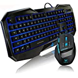 Aula Blue LED Illuminated Backlit Multimedia Gaming Keyboard Plus Mouse Kit