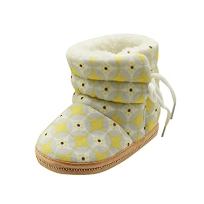 Exteren Toddler Newborn Baby Heart Print Boots Soft Sole Boots Prewalker Warm Shoes for 1-12Month baby (Yellow)