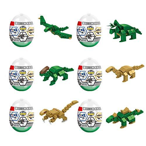 Jofan 6 in 1 Dinosaur Building Blocks Toys Jumbo Easter Eggs with Toys Inside for Kids Boys Girls Easter Gifts Easter Basket Stuffers Fillers