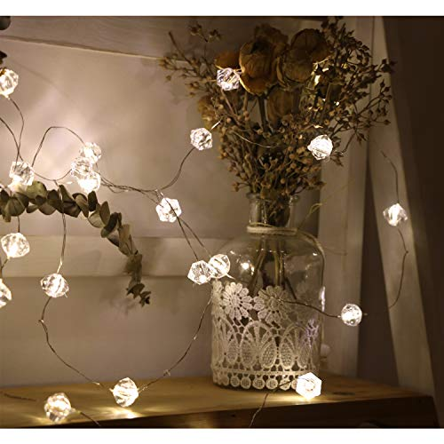 20 Multi Lights White Wire - Copper Wire LED String Lights Multi Faceted/Watermelonlamp Anpvees 2/3/4M 20/30/40 LED Balls for Chrismas, Party, Wedding, Indoor, Outdoor, Garden Decor, Decorative String Light(Warm White) (2M-20D)