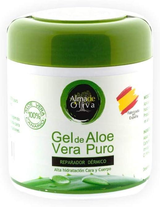 Gel Aloe vera 100% de Canarias crema hidratante natural 500 ml para la piel irritada por el depilado y afeitado/Quemaduras solares y picadura de ...