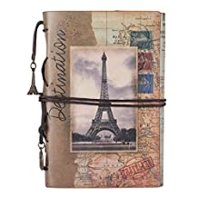 Paris Journal, MALEDEN Premium Vintage Leather Traveler Notebook Sketchbooks Classic Diary Planner with Blank Pages and Zipper Pocket (A6, Maps)