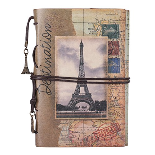 Leather Writing Journal Notebook, MALEDEN Vintage Traveler Notebook Sketchbook Classic Refillable Diary Planner for Girls and Boys with Blank Paper and Zipper Pocket (A6, Paris)