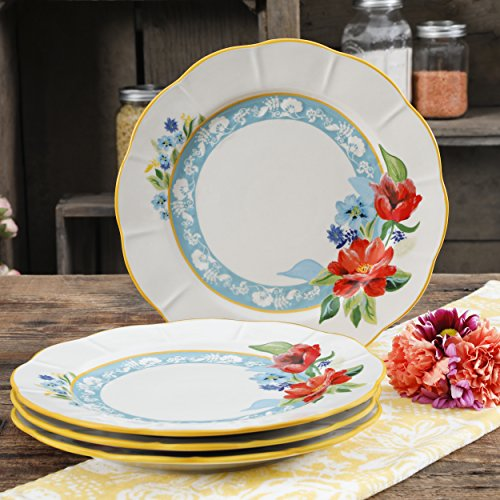 Spring Stoneware - New [Set of 4] 11-Inch Floral Patterns Spring Bouquet Dinner Plates, Made of Durable Stoneware, Dishwasher and Microwave Safe