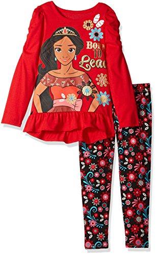 Disney Little Girls' 2 Piece Elena of Avalor Hi-Lo Top and Legging Set, Red, 4T