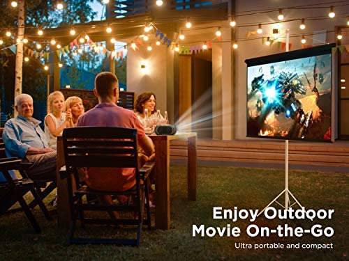 Bomaker Wi-Fi Mini Outdoor Projector, Native 720P Portable Projector for Outdoor Movies, Wireless Mirroring for iPhone/ Android/ Laptops/ Windows/ DVD Players