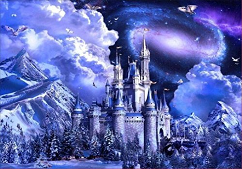 Yeefant Castle in the Mountains Embroidery Paintings No Fading 5D Canvas Rhinestone Pasted DIY Diamond Cross Stitch Home Wall Decor for Bedroom Living Room,16x12 Inch -