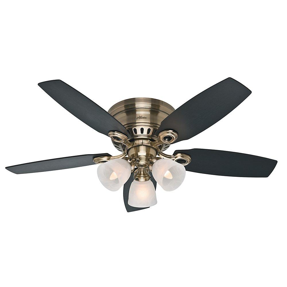 Hunter 52085 Hatherton 46-Inch Antique Brass Ceiling Fan with Five Black Oak/Dark Walnut Blades and a Light Kit