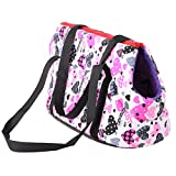 Childplaymate Pet Handbag Carrier Canvas Bag Soft Sided Pet Travel Carrier Shoulder Bag for Dogs,Cats and Puppies(Pink)(S)