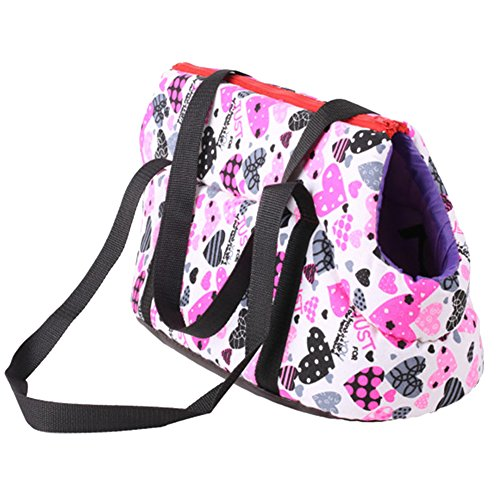 Jocestyle Heart Printed Soft Sided Pet Carrier Travel Cat Dog Small Animals Tote Bag (14.17 x 7.87 x 9.05 inch, Pink)