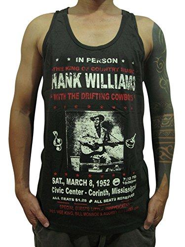Bunny Brand HANK WILLIAMS The King of Country Music T-Shirt Tank Top Mens Black (Medium, Black)