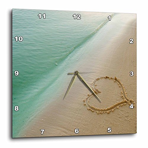 3dRose dpp_173299_2 Heart Shape Symbolizing Love, Heart Carved in Sand on The Beach-Wall Clock, 13 by 13-Inch - Heart Desk Clock