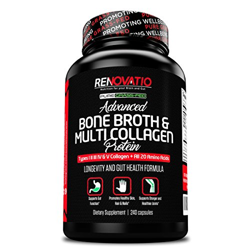 Bone Broth & Multi Collagen Advanced Protein Blend (240 Capsules) Keto Paleo + All 5 Collagen Types Primal Grass Fed High-Quality Blend of an Ancient Form of Nutrition & Vital Collagen Protein
