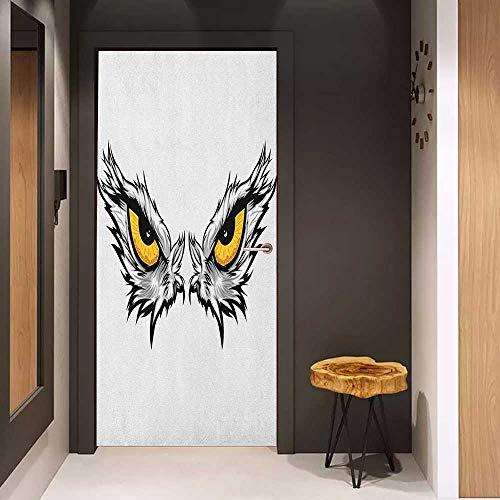 Onefzc Glass Door Sticker Decals Eye Aggressive Gaze of a Bird of Prey Cartoon Mascot Hunter Falcon Eagle Hawk Door Mural Free Sticker W23 x H70 Pale Grey Marigold Black